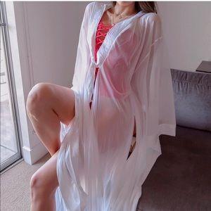White chiffon maxi kimono